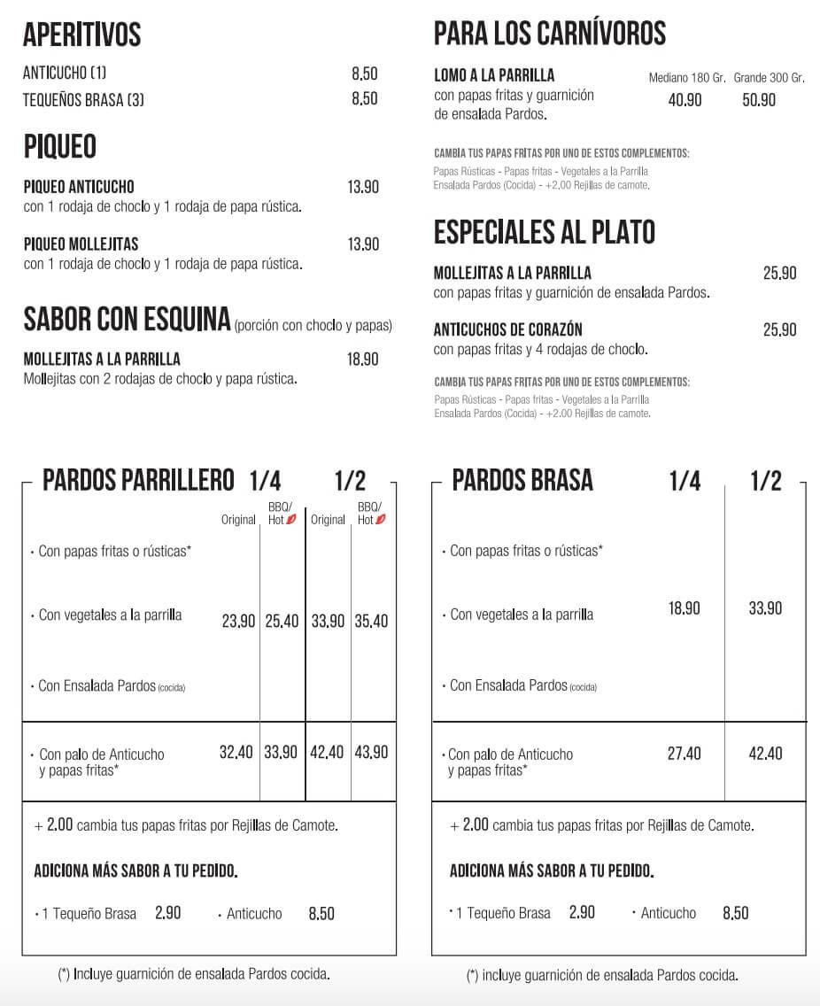 Pardos Chicken Carta 2